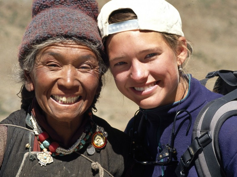 Trekker with Ladakhi Woman