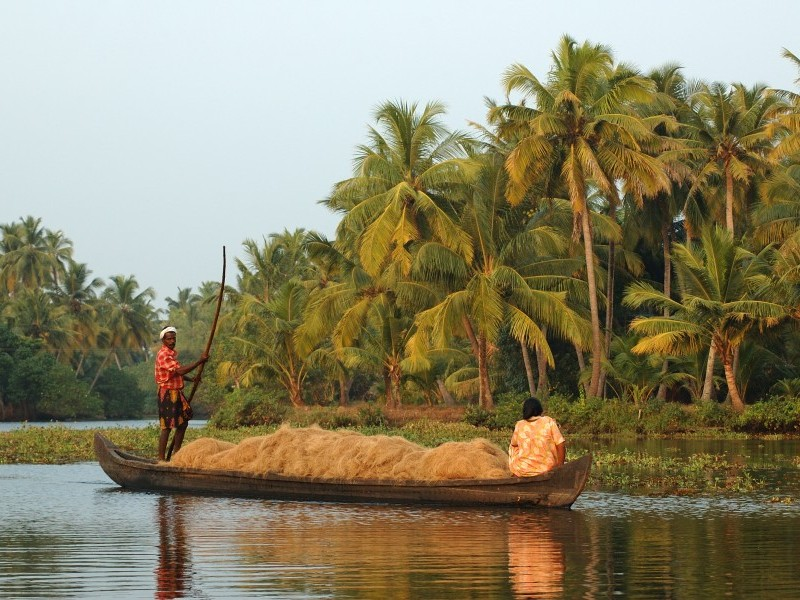Locals carrying Coir at Alleppey