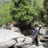 crossing stream during trek