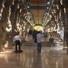 Family visiting 1000 pillars inside Meenakshi temple