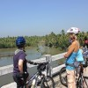 Cycling along backwaters, Kerala